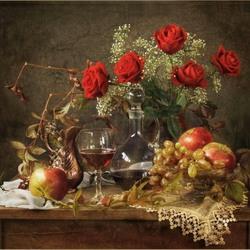Пазл онлайн: Розы, спелые фрукты и вино