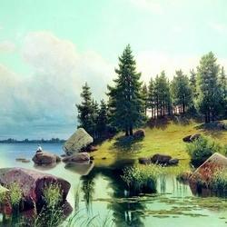 Пазл онлайн: У лесного озера