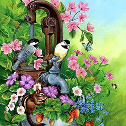 Пазл онлайн: Птички и бурундучок в цветах