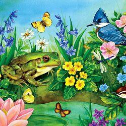 Пазл онлайн: Лягушка, птицы и цветы