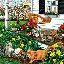Пазл онлайн: Кошечки на качелях