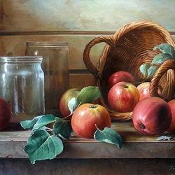 Пазл онлайн: Натюрморт с яблоками