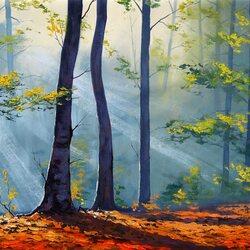 Пазл онлайн: Лесной свет
