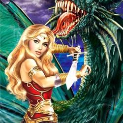 Пазл онлайн: Ну, кто на нас с драконом?