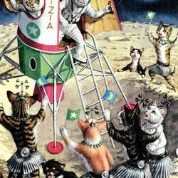 Пазл онлайн: Лунные коты