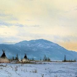 Пазл онлайн: Индейский поселок зимой