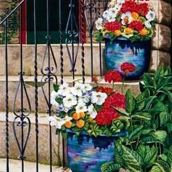 Пазл онлайн: Цветы на лестнице