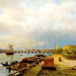 Пазл онлайн: Вид на Неву и Петропавловскую крепость