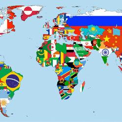Пазл онлайн: Флаги стран на карте мира
