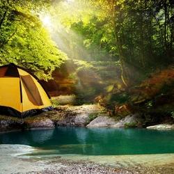 Пазл онлайн: Палатка в лесу