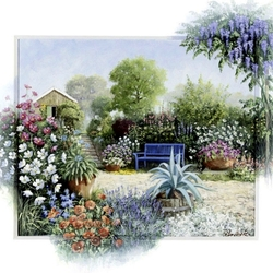 Пазл онлайн: Цветной дворик