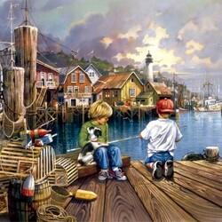 Пазл онлайн: Рыбаки