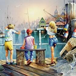 Пазл онлайн: Рыбалка у причала