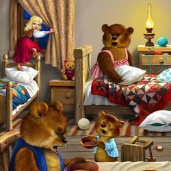 Пазл онлайн: Маша и медведи