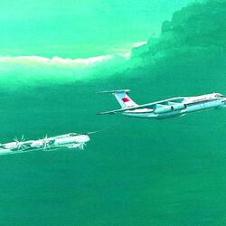 Пазл онлайн: Ил-78 заправляет Ту-95МС