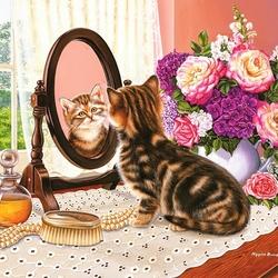 Пазл онлайн: Котенок и зеркало