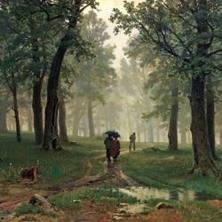 Пазл онлайн: Дождь в дубовом лесу