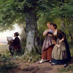 Пазл онлайн: Девушки, подглядывающие за работой художника