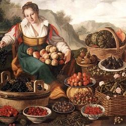 Пазл онлайн: Продавщица фруктов