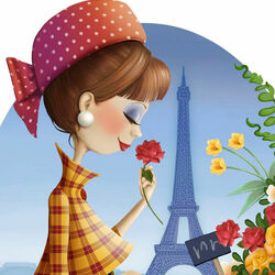 Пазл онлайн: Цветы в Париже
