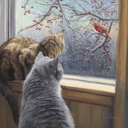 Пазл онлайн: Зимний день за окном