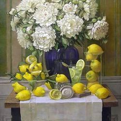 Пазл онлайн: Натюрморт с пионами и лимонами