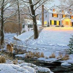 Пазл онлайн: Зимняя ночь