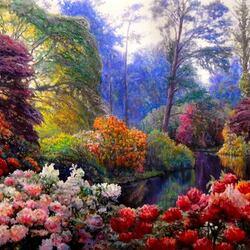 Пазл онлайн: В цветочном парке