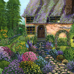 Пазл онлайн: Дом в цветущем саду