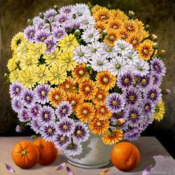 Пазл онлайн: Пышность и роскошь хризантем