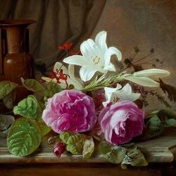 Пазл онлайн: Натюрморт с розами