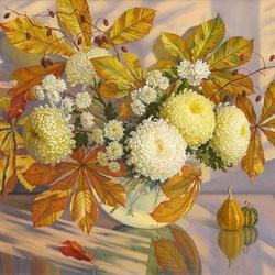 Пазл онлайн: Осенний букет с хризантемами