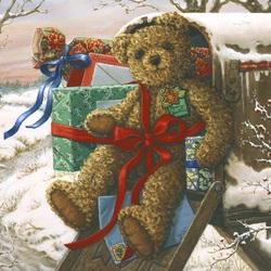 Пазл онлайн: Мишка в подарок