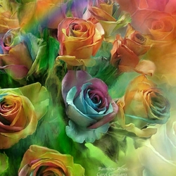 Пазл онлайн: Радужные розы