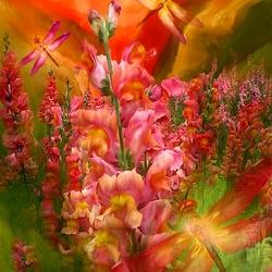 Пазл онлайн: Стрекозы и цветы
