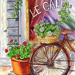 Пазл онлайн: У входа в кафе