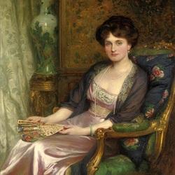 Пазл онлайн: Дама с веером