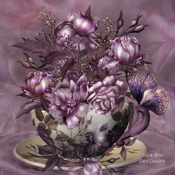Пазл онлайн: Чай и розы