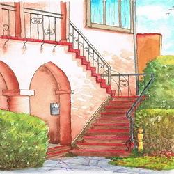 Пазл онлайн: Лестница у дома