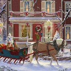 Пазл онлайн: Рождественские сани