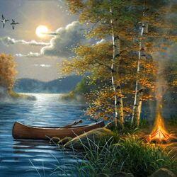 Пазл онлайн: Лодка у берега