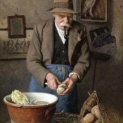 Пазл онлайн: Старик, чистящий картофель