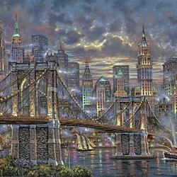Пазл онлайн: Ночной мост