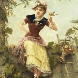 Пазл онлайн: Девушка под яблоней