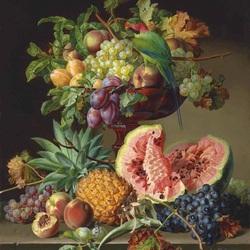 Пазл онлайн: Ваза с фруктами и  попугаем