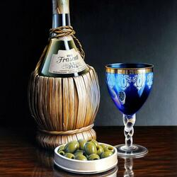 Пазл онлайн: Вино и оливки