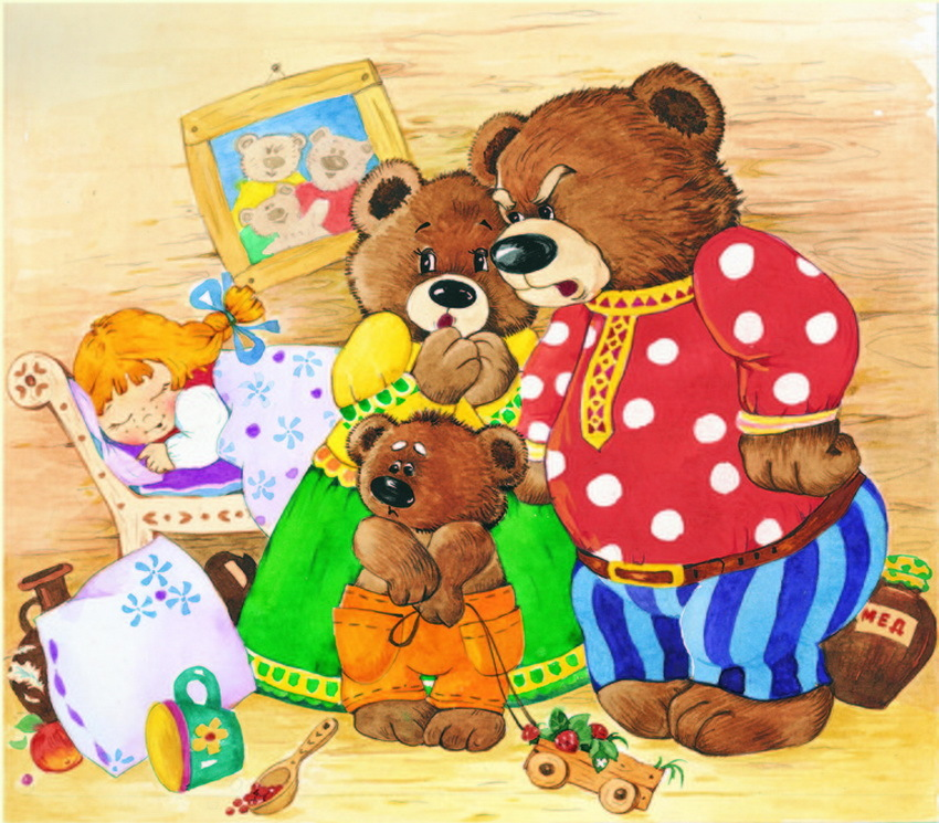 Три медведя в картинках
