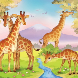 Пазл онлайн: Жирафики