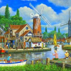 Пазл онлайн: Рыбацкая деревня