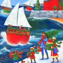 Пазл онлайн: Рождество у моря